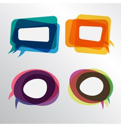 Colorful speech bubbles round and square layers vector