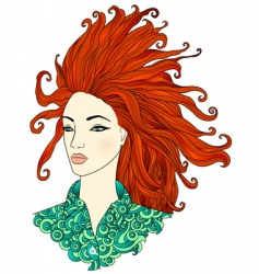 redhaired girl vector image