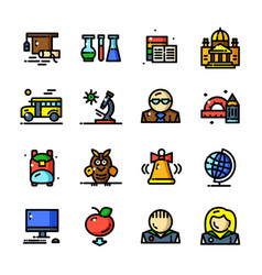 Thin line knowledge icons set vector