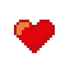 video game heart pixelated icon vector image