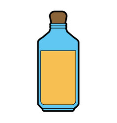 Glass bottle with yellow liquid icon imag vector