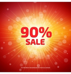 Bright red and orange Sale background with rays vector image