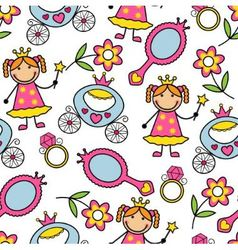 Cartoon seamless pattern with princess and her bel vector