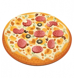 Pizza with salami vector