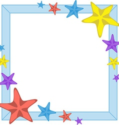 Decorative cyan frame with cartoon starfishes vector