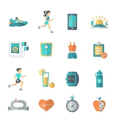 Jogging icons flat vector