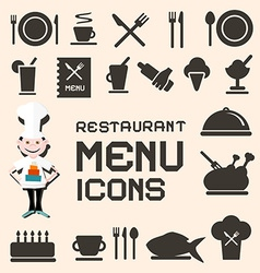 Flat design restaurant menu icons set vector