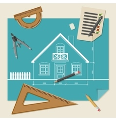 Architectural background with drawing equipment vector image
