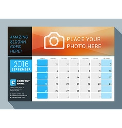 September 2016 design print calendar template for vector