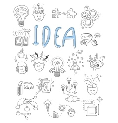 Idea brainstorming icons in doodle style vector