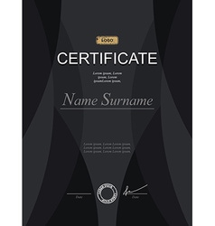 Black stylish certificate Template for diploma vector image