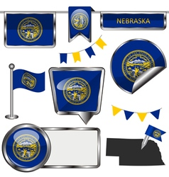 Glossy icons with Nebraskan flag vector image