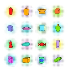 Package icons set comics style vector