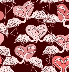 Seamless pattern of flamingos vector