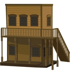 Wooden two story light brown house for the town vector