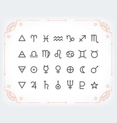 Astrology symbols and mystic signs set of vector