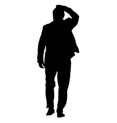 black silhouettes man with arm raised vector image vector image