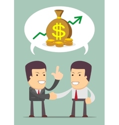 Businessmen discussion about profit vector