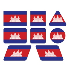 buttons with flag of Cambodia vector image