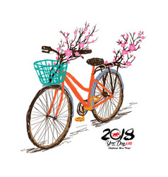 chinese new year hand drawn tintage bicycle with vector image