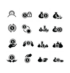Coins set 16 in 1 vector