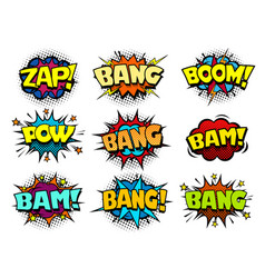 comic cartoon book bubbles loud exlosion sound vector image vector image