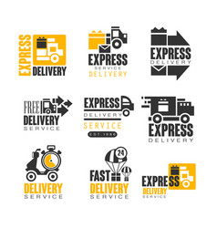 Express delivery set for label design delivery vector