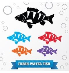 Fish icon set perch redfin perch percidae vector