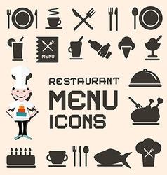 Flat design restaurant menu icons set vector