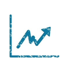 Grunge growing graph icon vector
