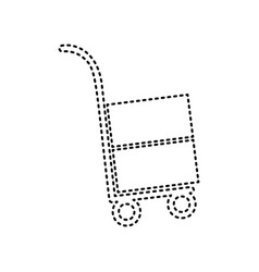 Hand truck sign black dashed icon on vector
