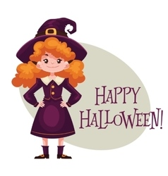 Happy girl dressed as witch for halloween vector