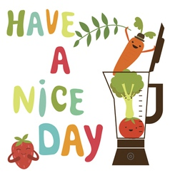 Have a nice day card with cute vegetables vector image vector image