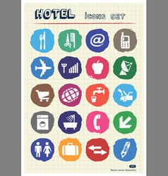 Hotel and service icons set drawn by chalk vector image