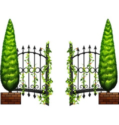 Metal fence with pine tree on sides vector image vector image