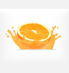 orange fruit with juice splash vector image
