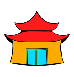 Pagoda icon cartoon vector