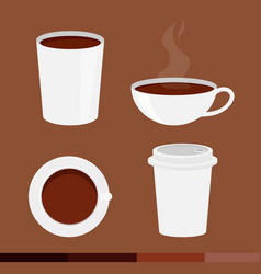 Set of coffee cup with cap isolated on brown vector
