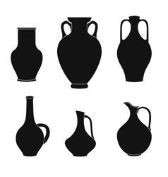 Set of jugs pitcher outline vector
