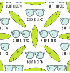 Surfing patterns Summer seamless design with vector image vector image