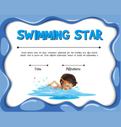 Swimming star certification template with swimmer vector