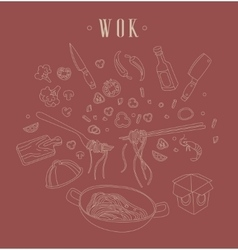 WokRelated Object Set With Text vector image vector image