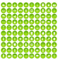 100 beer icons set green circle vector