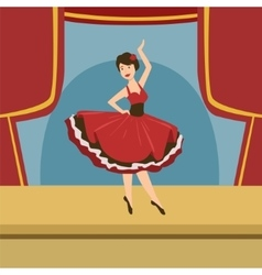 Ballerina In Stylized Spanish Dress Solo Dance vector image