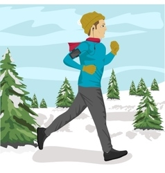 Young sportsman jogging outside in winter park vector