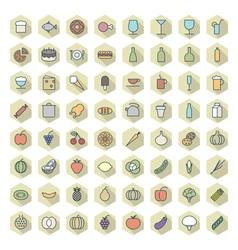 icons line hexagonal food drinks thin vector image