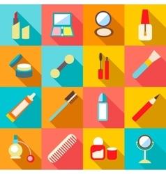 Beauty cosmetics icons set flat style vector image