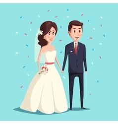 Bride and groom as wedding couple vector