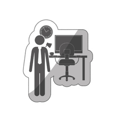 Sticker silhouette man administrator in office vector