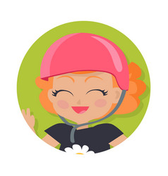 Smiling girl in pink helmet simple cartoon style vector